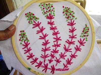 Hand Embroidery : Lazy daisy Flower Stitch :French knot Stitch by AmmaArts.