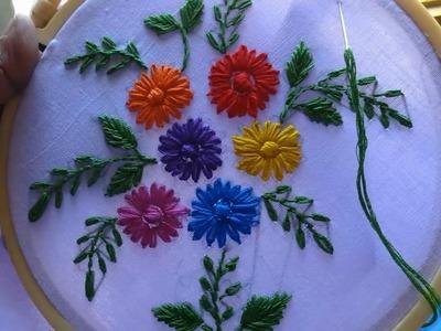 Hand Embroidery Lazy daisy Stitch Flower Design by Amma arts