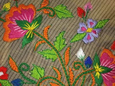 Hand embroidery stitches tutorial. Hand embroidery design for blouses.
