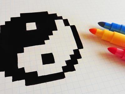 Handmade Pixel Art - How To Draw Yin Yang  #pixelart