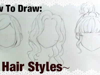  How To Draw  3 Manga Girl Hairstyles!