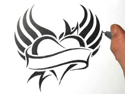How to Draw a Heart with Wings - Tribal Tattoo Design