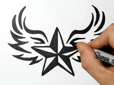 How to Draw a Nautical Star with Wings - Tribal Style