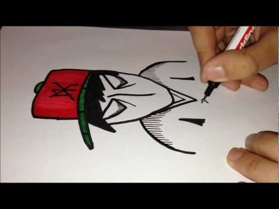 How to draw graffiti character - Angry Gangster