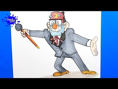 HOW TO DRAW GRUNKLE STAN GRAVITY FALLS l  Como dibujar a Grunkle stan l  how to draw cartoon