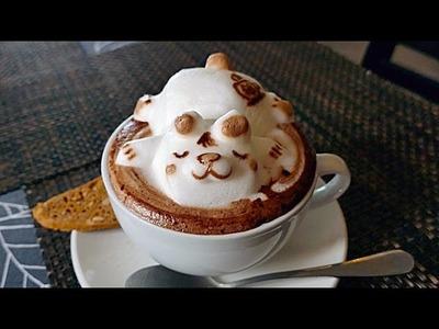 INCREDIBLE 3D COFFEE ART - CUTEST COFFEE YOU'LL EVER SEE! Lion, Cat, Panda, Sleeping Bear
