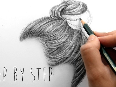 Step by Step | How to draw shade realistic hair bun with pencils | Emmy Kalia
