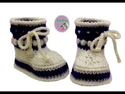 Baby booties crochet tutorial.Vasilisa