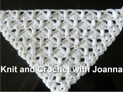 Crochet Pattern *EASY PATTERN FOR A SHAWL WITH SHELLS AND PUFF STITCH *