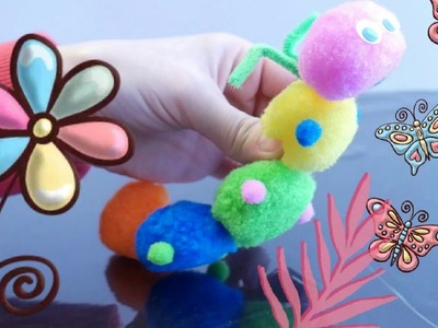 DIY Cute Pom Pom Caterpillar Craft | Super Easy & Fast Kids Pom Pom Craft