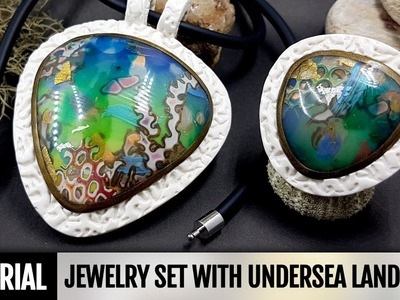 DIY Polymer clay Jewelry Set with Undersea Landscape or Coral Reef. VIDEO Tutorial!