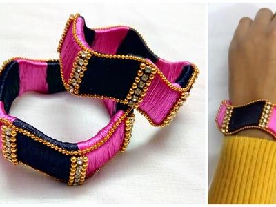 Make your own Silk thread Designer bangles at home I DIY latest silk thread bangles