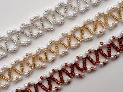Beginner DIY jewelry tutorial. 3 beautiful seed beads and pearl beads bracelets