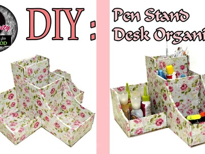 DIY : How to make Pen Stand. Desk organiser | Card Board | Art with Creativity 117