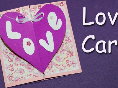 DIY Love Greeting Card. Easy Way to Make Valentine's Day Greeting Card. DIY paper craft.Julia DIY