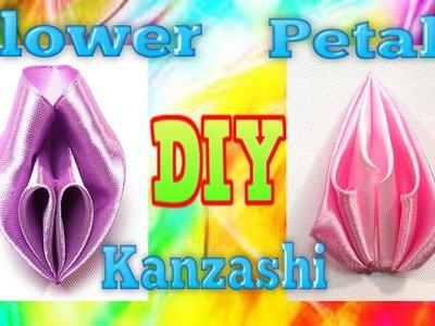 DIY ribbon flowers petals, ribbon petals tutorial, kanzashi petals