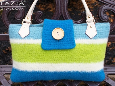 DIY Tutorial - Crochet a Felted Handbag using the Fulling Process - Felting Bolsa Bags