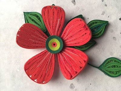 How To Make Beautiful Red Flower Design Using Paper Art Quilling | Hibiscus Paper Flower