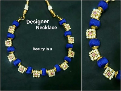 How to make Designer Silk Thread Necklace at Home | Tutorial