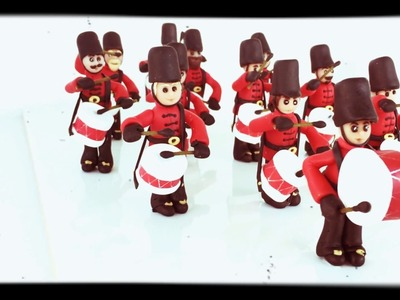 Polymer clay-12 drummers drumming