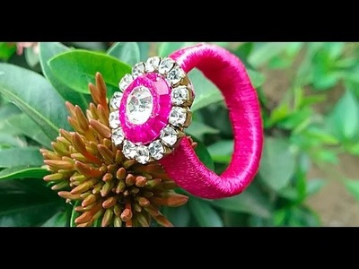 Silk thread party wear ring making I how to make quilling paper finger ring
