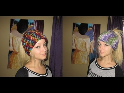 Crochet messy bun hat for begginers