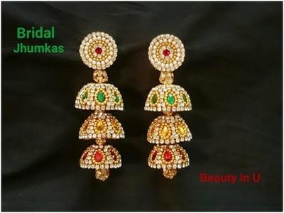 How to make Bridal Jhumkas at Home | Silk Thread Earrrings | Tutorial