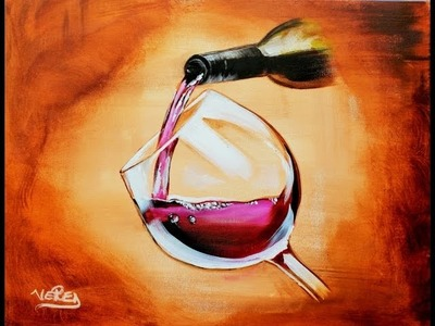 How to paint a wine glass with bottle and water drops.Painting step by step tutorial  beginners