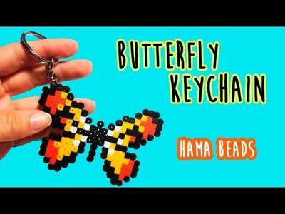 Butterfly keychain with Hama beads (Perler beads)