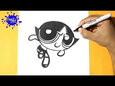 Como dibujar a Bellota - Las Chicas Superpoderosas l How to draw Buttercup - the Powerpuff Girls
