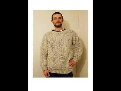 CROCHET How To #Crochet Simple Mens Pullover Sweater Size L, XL, 2XL  TUTORIAL #359