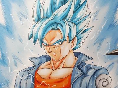 How To Color Goku Super Saiyan BLUE - Coloring and Aura Tutorial