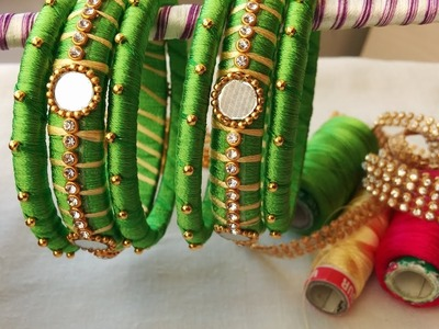 Making of two color bangles with mirrors and gold drop chain | DIY