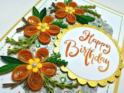 Orange pop up flowers and quilling birthday card