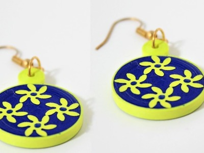 Simple and easy Quilling earrings making.DIY Quilled earrings
