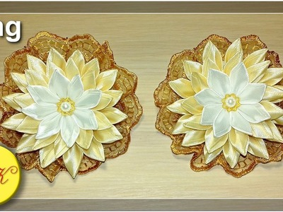 Elastic bands for hair with a flower kanzashi (Eng)