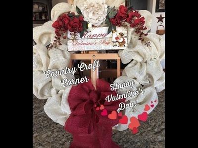*New* Valentine's Day Wreath:  Cream & Red Burlap (Tutorial)
