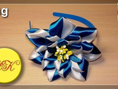 The headband with a big and lush kanzashi flower (Eng)