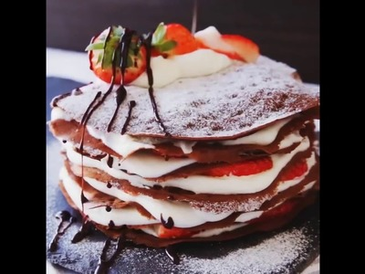Chocolate Mille Crepe with Strawberries & Cream To Die For [Tasty]