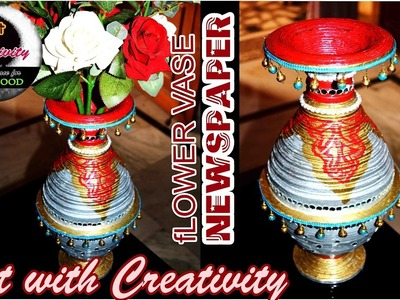 How to make a Flower vase   made of up newspaper   Best out of waste   DIY   Art with Creativity 126