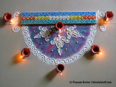 Beautiful and unique semi-circle rangoli for diwali | Innovative rangoli designs by Poonam Borkar