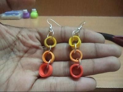 Beginners Quilling : Easy triple loop Earring, no slotted tool!!