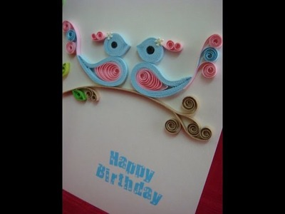 Blue and pink quilled birds birthday card with pop up cake