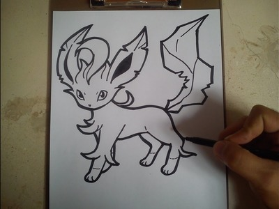 COMO DIBUJAR A LEAFEON - POKEMON. how to draw leafeon - pokemon
