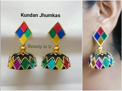 Designer Kundan Silk Thread Earrings | Tutorial