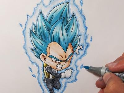 Drawing Chibi Vegeta Super Saiyan Blue