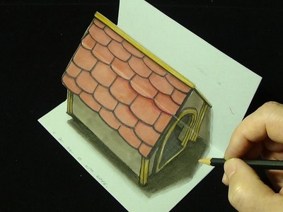 Drawing Simple Dog House, Trick Art 3D