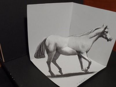 Drawing White Horse, 3D Artistic Graphic