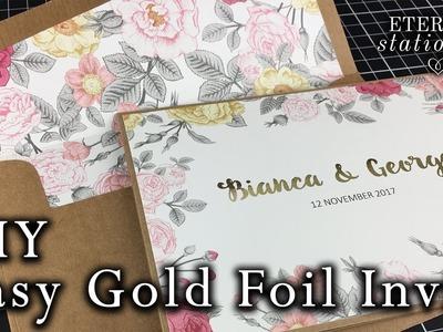 Easy Gold Foiled Invitation made at home | DIY Wedding Invitations using a laminator or Minc