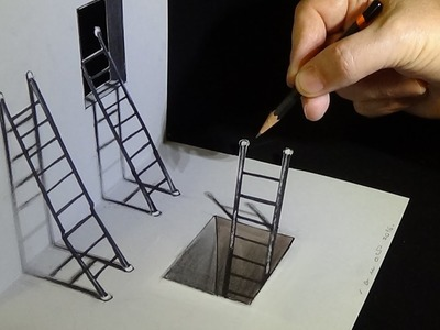 How to Draw Ladders Optical Illusion